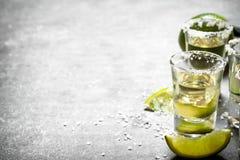 Tequilaen med limefrukt och saltar arkivbild