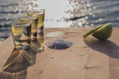 Tequilaen med limefrukt och saltar vid havet Royaltyfri Bild