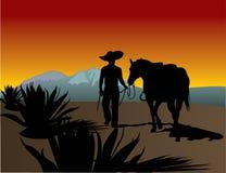 Tequilahersteller mit Hut Stockfotos