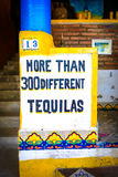 300 tequilas in sayulita town,near punta mita,mexico. A bar selling more than 300 different types of tequila in the fishing and surf town of sayulita near punta Royalty Free Stock Image