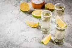 Tequilaskott med limefrukt och saltar arkivbilder