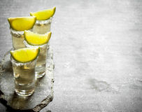 Tequilaskott med limefrukt och saltar royaltyfria bilder