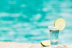 Tequilaskott med limefrukt på blå bakgrund Arkivbilder
