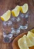 Tequilaskott med limefrukt, selektiv fokus royaltyfri bild