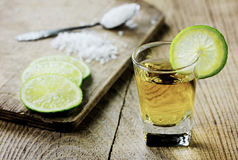 Tequilaskottet med limefrukt och saltar Fotografering för Bildbyråer