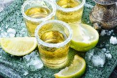 Tequilaskottet med limefrukt och saltar arkivbilder