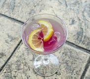 Tequilasonnenaufgangcocktail in einem transparenten Glas mit Eis und Scheiben der Zitrone, Alkohol Stockbild