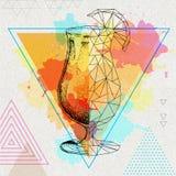 Tequilazonsopgang van de Hipster realistische en veelhoekige cocktail Stock Afbeelding