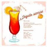 Tequilla sunrise cocktails drawn watercolor. Stock Images