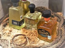 Tequillaparade, beroemde tequilamerken allen samen stock fotografie