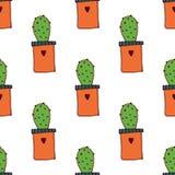 Ter beschikking getrokken van het cactus naadloze patroon stijl stock foto's