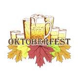 Ter beschikking getrokken van het Oktoberfestembleem schetsstijl Royalty-vrije Stock Foto's