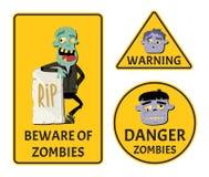 Ter cuidado com as etiquetas dos zombis ajustadas Foto de Stock