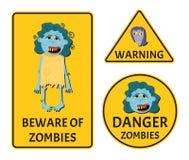 Ter cuidado com as etiquetas dos zombis ajustadas Fotografia de Stock