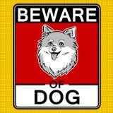 Ter cuidado com a ilustração bonito do vetor do pop art do cão Foto de Stock