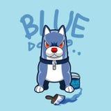 Ter cuidado com o cão azul Imagem de Stock