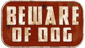 Ter cuidado com o cão Tin Sign Imagens de Stock