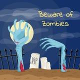 Ter cuidado com o cartaz dos zombis com mãos dos zombis Foto de Stock