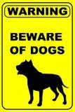 Ter cuidado com o sinal de aviso dos cães ilustração do vetor