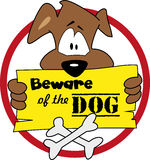 Ter cuidado com o vetor da ilustração do cão Foto de Stock Royalty Free
