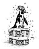 Teraźniejsi pingwinów Boże Narodzenia Obraz Royalty Free