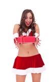 teraźniejsi Santa srprised kobiety potomstwa Fotografia Stock