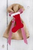 Teraźniejsza torba z Santa butem na białym tle dla bożych narodzeń Obraz Stock