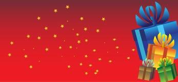 Teraźniejszość gwiazdy i czerwony tło Zdjęcia Stock