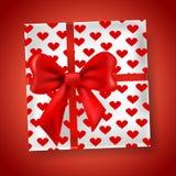 Teraźniejszy prezenta pudełko z czerwonym łękiem ilustracji