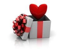 Teraźniejszy pudełko z sercem Zdjęcie Royalty Free