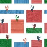 Teraźniejszy pudełkowaty bezszwowy wzór Kolorowa prezenta pudełka kolekcja Boże Narodzenia, nowego roku tło, karta, tapeta, zawij Zdjęcie Royalty Free