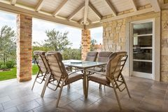 Terrace with table and chairs stock image