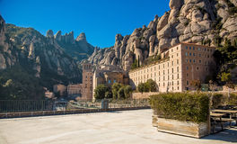 Terace of view point on the Monserrat mountain. Photograph of a terace with view at Santa Maria Abbey in Monserrat mountains, Catalonia, Spain royalty free stock images