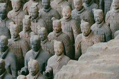 Terakotowy wojsko żołnierz rzeźb grupa w Xian, Chiny zdjęcia stock