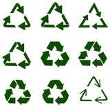 ?teranv?ndning av symbol av ekologiskt rena fonder, st?llde in av pilar vektor illustrationer