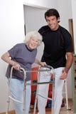 Terapeuta que ayuda al caminante paciente del uso Foto de archivo