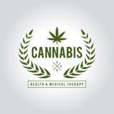 Terapi för design för tappningmarijuanaetikett, cannabishälso- och läkarundersökning, vektorillustration stock illustrationer