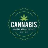 Terapi för design för tappningmarijuanaetikett, cannabishälso- och läkarundersökning, vektorillustration vektor illustrationer