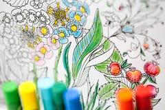 Terapia del arte y del color Libro de colorear anti del adulto de la tensión Imagenes de archivo