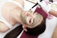 Terapia del balneario para la mujer joven que recibe la máscara facial en el salo de la belleza Fotografía de archivo libre de regalías