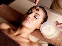Terapia del balneario para la mujer que recibe la máscara facial