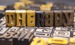 Terapia w drewnianym typeset Fotografia Stock