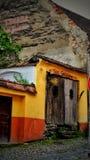 Terasa knajpa Sighisoara Rumunia obrazy royalty free