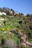 Terassenförmig angelegte Gärten zu San Vigilio, Lombardei, Italien Stockfotografie