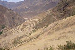Terassenförmig angelegte Inkafelder und Ruinen des Dorfs Lizenzfreies Stockfoto