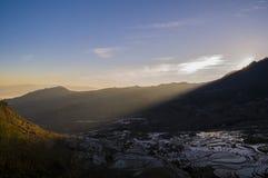 Terassenförmig angelegter Sonnenaufgang Yuanyang Stockbild