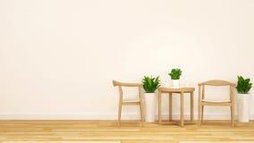 Terast med den trästol- och för kaffe table-3D tolkningen Arkivbild