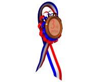Terceira medalha premiada girada Foto de Stock