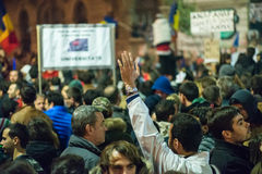 Terceiro dia do protesto contra o coruption e o governo romeno Imagens de Stock