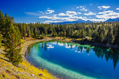 Terceiro lago, vale dos 5 lagos, Jasper National Park, Alberta Imagem de Stock Royalty Free